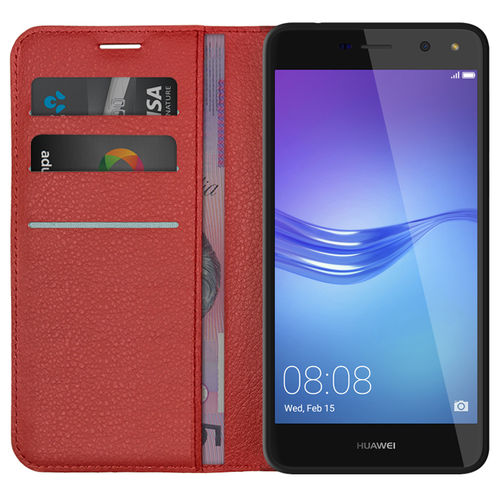 Leather Wallet Case & Card Holder Pouch for Huawei Y5 (2017) - Red